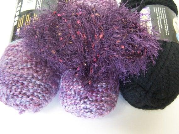 Lion Brand Sale yarn 4 skeins Lot purple black eyelash Homespun Wool-Ease crochet Knit
