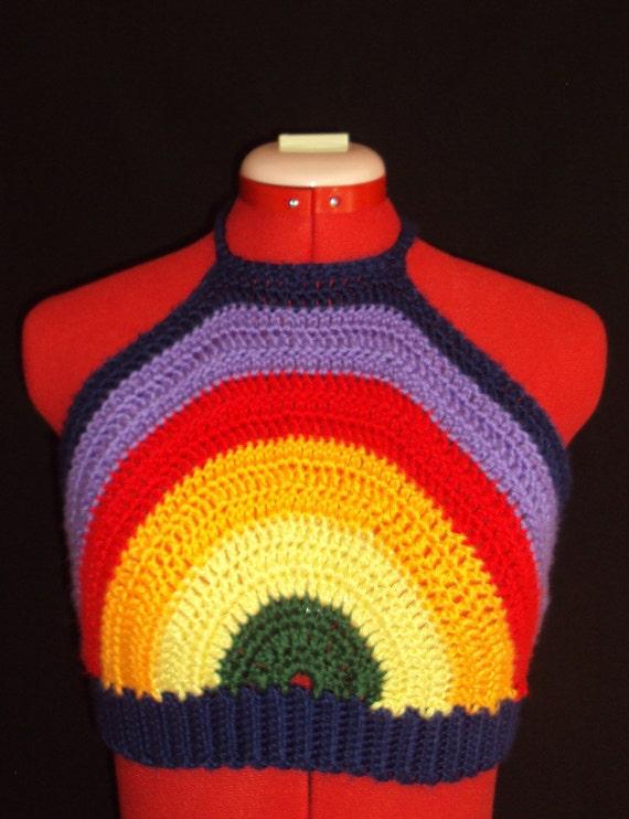 Hand Crocheted Retro Rainbow Halter Top