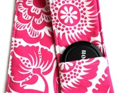 DSLR Camera Strap Cover - Padding and Lens Cap Pocket Included - Fushia Pink Floral