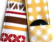 DSLR Camera Strap Cover - Padding and Lens Cap Pocket Included - Yellow Brown Red