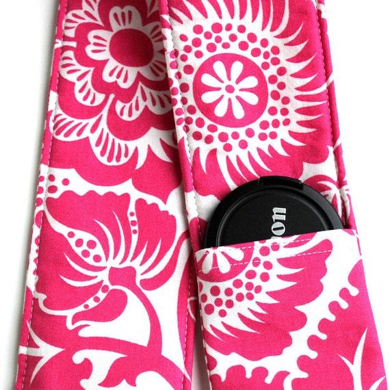 DSLR Camera Strap Cover - Padding and Lens Cap Pocket Included - Fushia Pink Floral