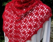 Red Hot Beaded mink and cashmere Crocheted Shawl Scarf lace wrap handmade crimson shawlette