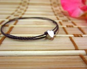 Twisted nylon cord bracelet 'Tiny Metal Heart' - beach, surfer, summer fashion, boho chic, simple, charm, stacking.
