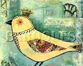 Bird Art Whimsical bird  Mixed media Original painting Contemporary art Bird Illustration Acrylic painting
