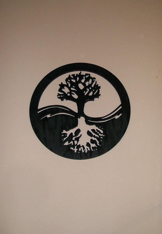 Yin yang tree of life wood silhouette modern wall art wall - Tatouage ying yang ...