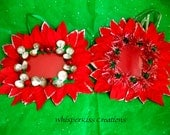 Picture frame set of 2 Christmas ornaments or decor fit wallet size photos decorated in red and green traditional garland and sparkle beads