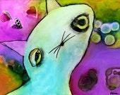 Bright Colorful Whimsical Nursery Child's Room Sweet Sad Kitten Cat Enhanced Matte Giclee Print 9 x 12