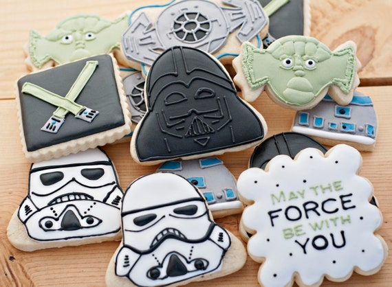 Star wars custom sugar cookies 12 birthday cookies party favors