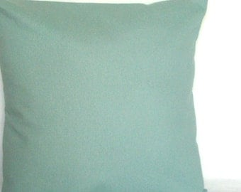 Spa Blue Throw Pillow Cover, 18x18 or 20x20 inch Solid Decorative Cushion Cover  - Aqua Blue Solid, Light Turquoise