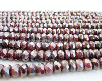 "GB-1075 - Natural Garnet Faceted Rondelle - 5x8mm Gemstone Beads - 16"" Strand"
