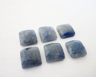 GCF-1260 - Blue Jade - 12mm Square Faceted Rose Cut Cabochon - 1 Cab
