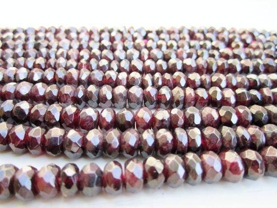 "GB-1075 - Natural Garnet Faceted Rondelle - 5x8mm Gemstone Beads - 16"" Strand"