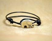 Black Leather Wrap Bracelet with Good Luck Elephant Button Clasp