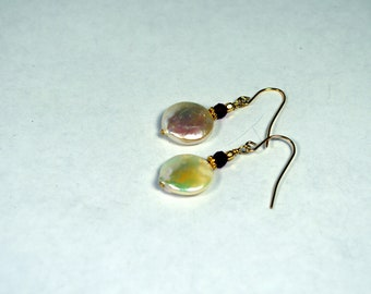 Coin Pearl Earrings with Rubies and 14k Gold Vermeil ear wires