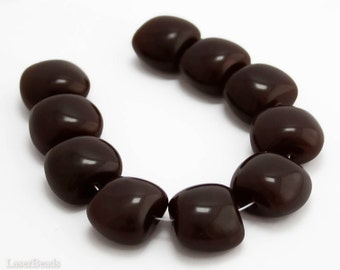 Chocolate Brown Czech Beads 15mm (4) Large Opaque Pressed Glass Big last