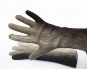 Felted gloves - natural wool seamless brown gloves - handmade winter gloves - Christmas gift