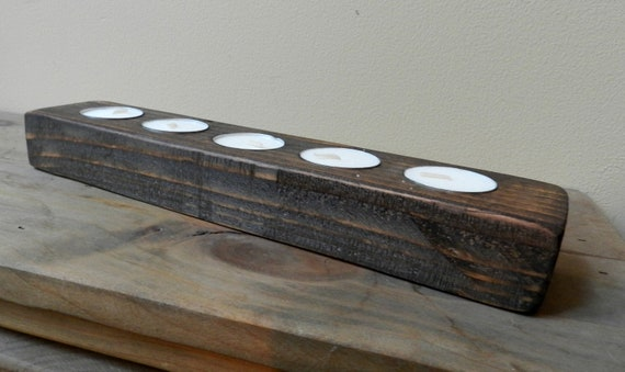 5 candle rustic tea light candle holder