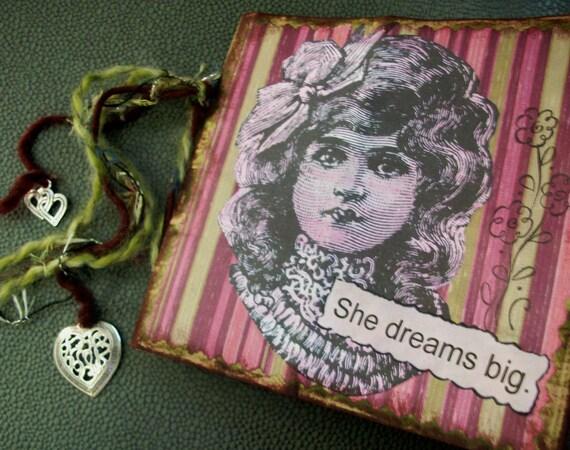 "OOAK SMASH BOOK - ""She Dreams Big"" - upcycled journal, photo album, blank book"