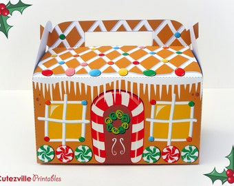 Printable PDF Christmas Gingerbread House Cupcake, Favor, Candy, Gift Box - Editable Text - INSTANT DOWNLOAD