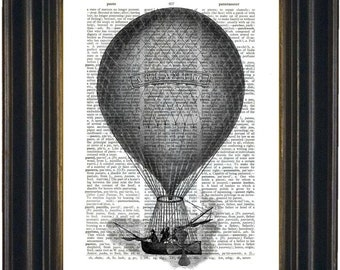 Mono Atlantic Balloon Print on Repurposed Dictionary Page