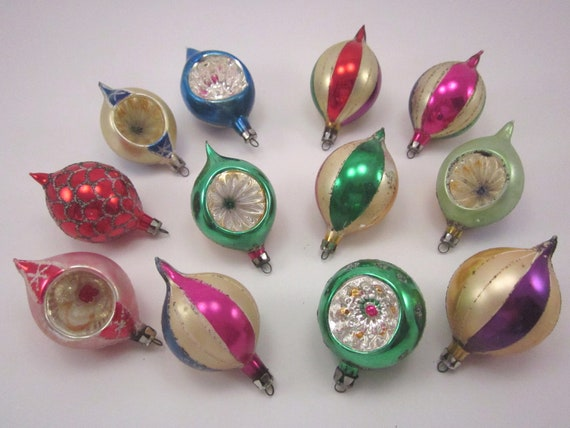 Vintage Glass Christmas Holiday Ornaments Indented And Elongated Boxed Set Of Twelve