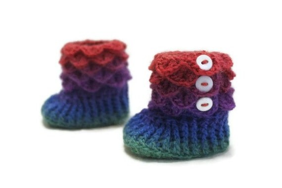 Crochet Crocodile 6-12 Month Baby Girl Slipper Booties in Rainbow Colors, Ready To Ship