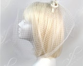 On Sale - Bridal Birdcage Veil With Knotted Bow