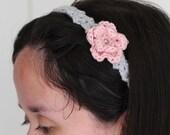 The old rose headband - crochet - handmade - gray headband with blush pink rose