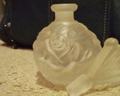 ILLUSIONS PERFUME BOTTLE Frosted Roses German Crystal