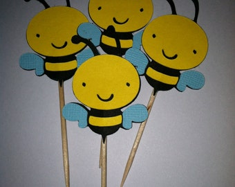 12 bumble bee cupcake toppers, bee food picks,  cupcake toppers