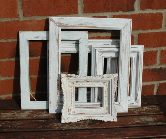 5 vintage distressed painted frames