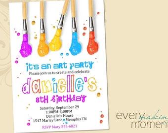 Art Party Birthday Invitation -- Painting Party Birthday Invitation -- printable, custom, personalized, print yourself-- Birthday invite