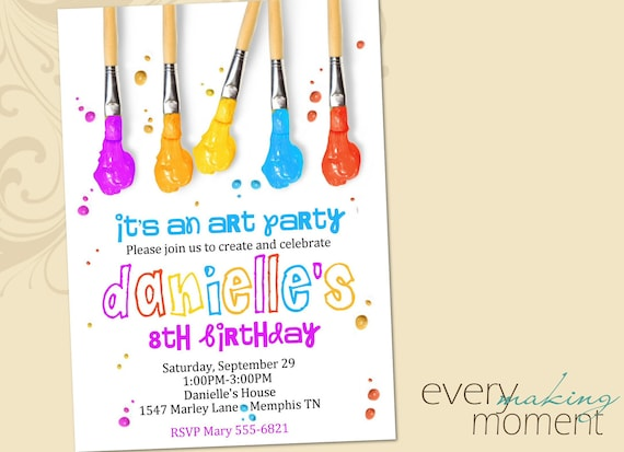 Art Party Birthday Invitation -- Painting Party Birthday Invitation -- printable, custom, personalized, print yourself-- Birthday invite