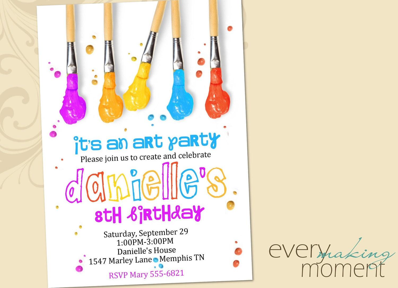 17 Best Ideas About Art Party Invitations On Pinterest Paint