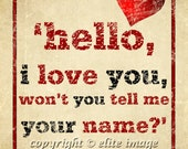 8x10 HELLO I LOVE YOU by The Doors Jim Morrison song lyrics on grunge old parchment paper with a heart - 8x10 Print