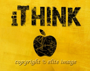 8x10 iTHINK Inspiration Motivation Wall Art like Steve Jobs of Apple in a Scratched Distressed Look - 8x10 Print