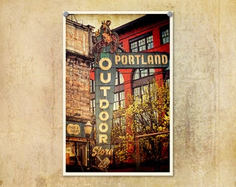 Portland Photo Outdoor Store--Fine Art Distressed Lomography 8x12
