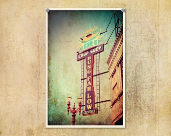 Portland Oregon Photo Hung Far Low Chinese Restaurant--Fine Art Urban Lomography 8x12