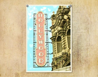 Portland Oregon Photo Hollywood Theatre Pink--Fine Art Lomography 8x12