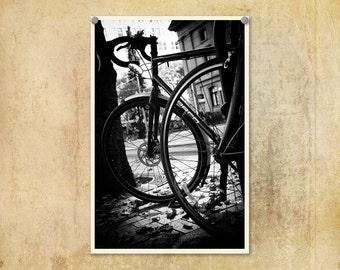 Portland Oregon Photo Bicycles Urban--Fine Art Black and White Photography 8x12