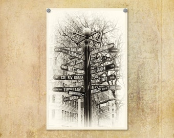 Portland Oregon Photo | Pioneer Courthouse Square | Street Sign | Black and White | Portlandia