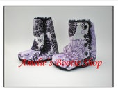 Purple and Black Butterflies and Flowers Soft Sole Crib Shoe Lined with Black Fur