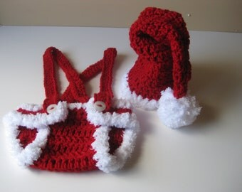 Crochet Baby Hat Santa with Diaper Cover Christmas Free shipping