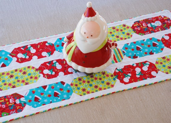 Christmas Quilted Table Runner in Red, Aqua, and Lime, Reversible