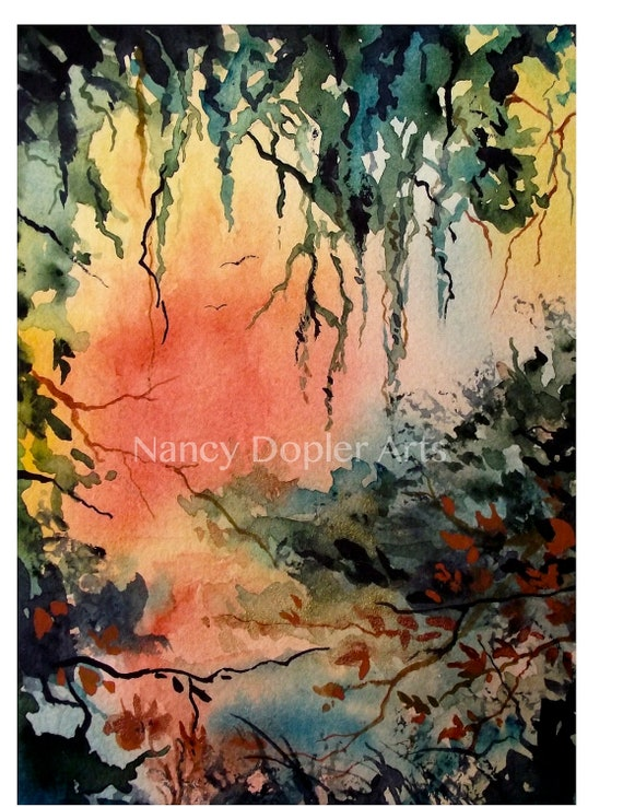 Cypress Trees with Hanging Moss Original Watercolor