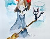 Little Witch, 8x10 Original Watercolor Studio Ghibli