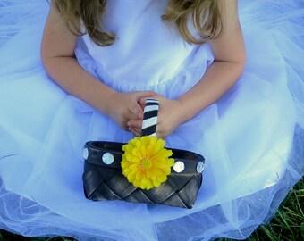 CLEARANCE - Flower Girl Basket - Fall Wedding Flower Girl Basket - Autumn Flower Girl Basket - Epresso Basket - Yellow Zinna Basket