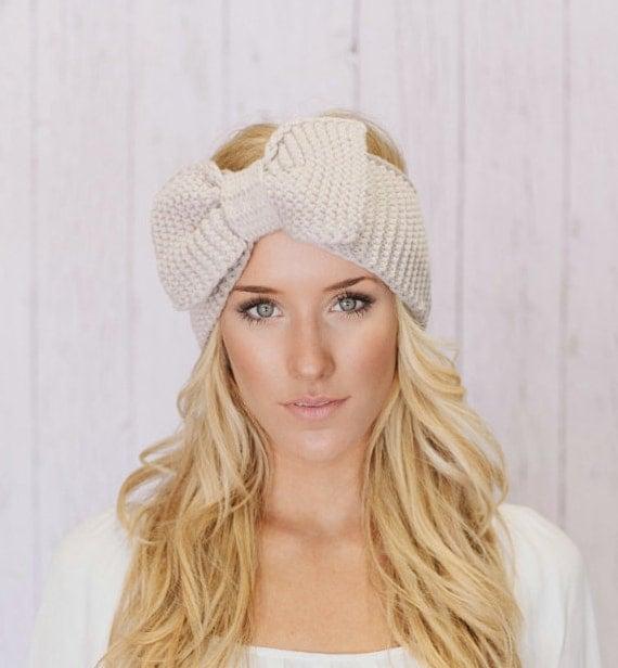 Knitted Bow Headband LARGE Bow Ear Warmer Vanilla Latte (HBK3-04)