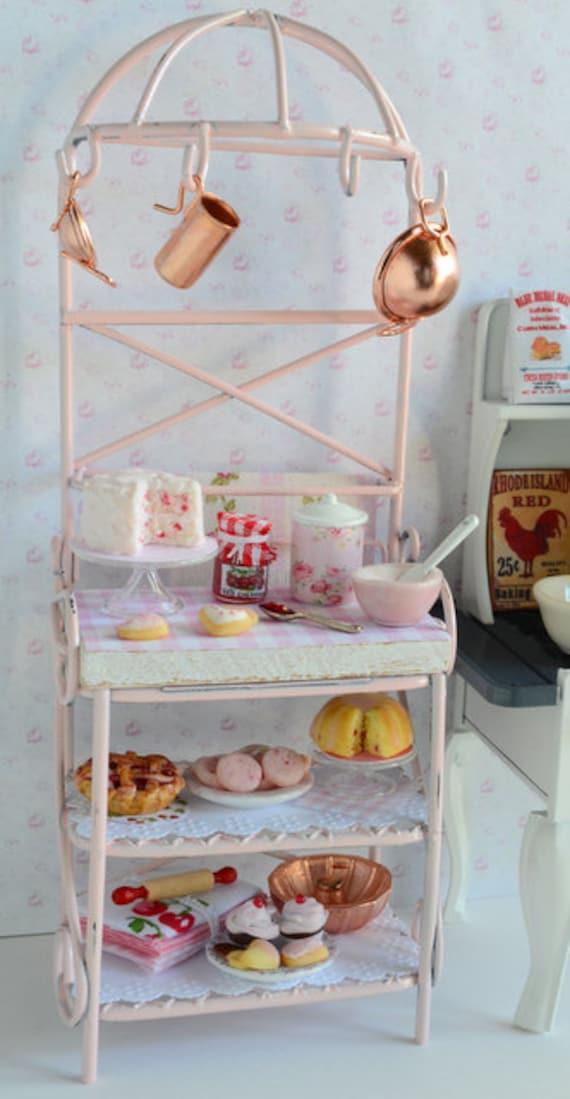 Miniature Shabby Pink Baker's Rack