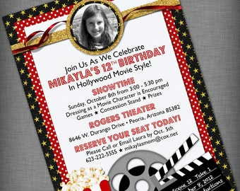 Photo Movie Party Customized Printable Invitation